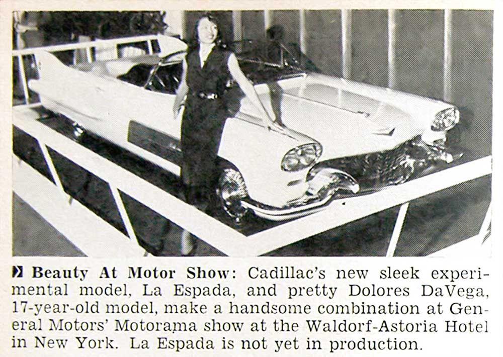 Delores De Vega Models Cadillac's Experimental La Espada At Car Show - Jet Magazine, February 11, 1954