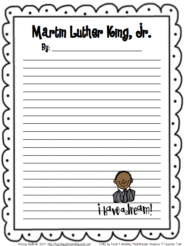 Martin Luther King Mission: Accomplished! *Freebie Writing Paper ...