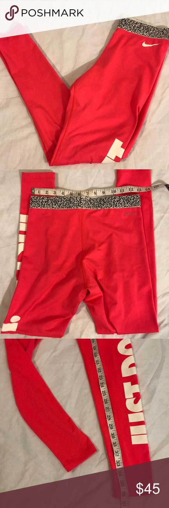 "Nike leggings ""just do it"" logo down leg small Nike"