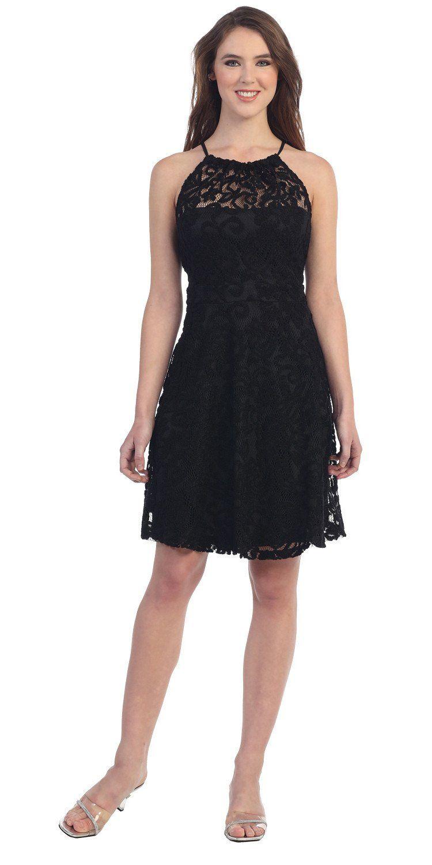 Halter cocktail dress black short rhinestone neckline draped