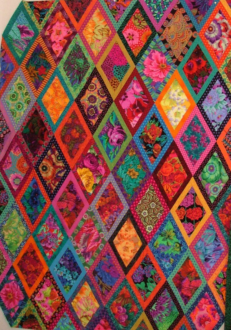 The Cat S Meow Two Bordered Diamonds Kaffe Fassett Quilts Quilts Colorful Quilts