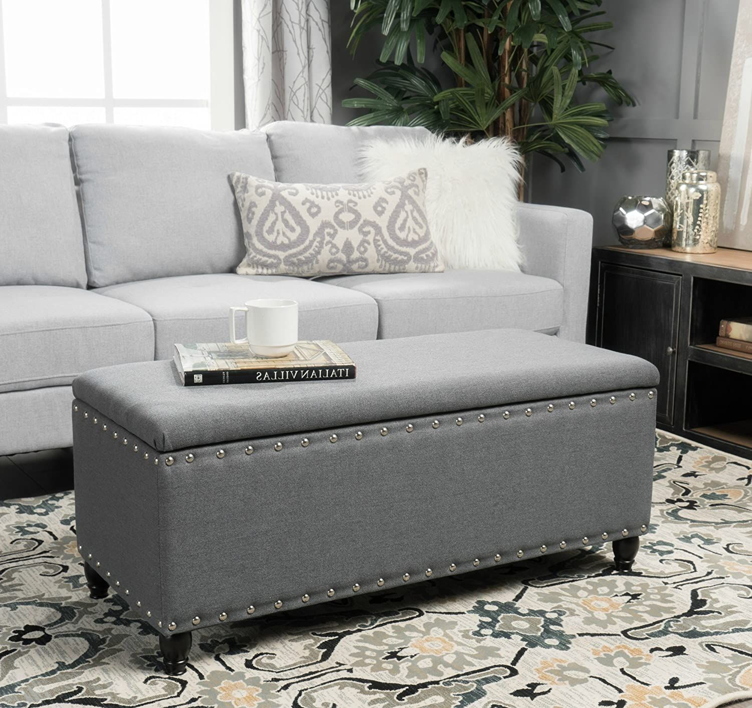 Storage Ottoman Bench Coffee Table Grey Nailhead S