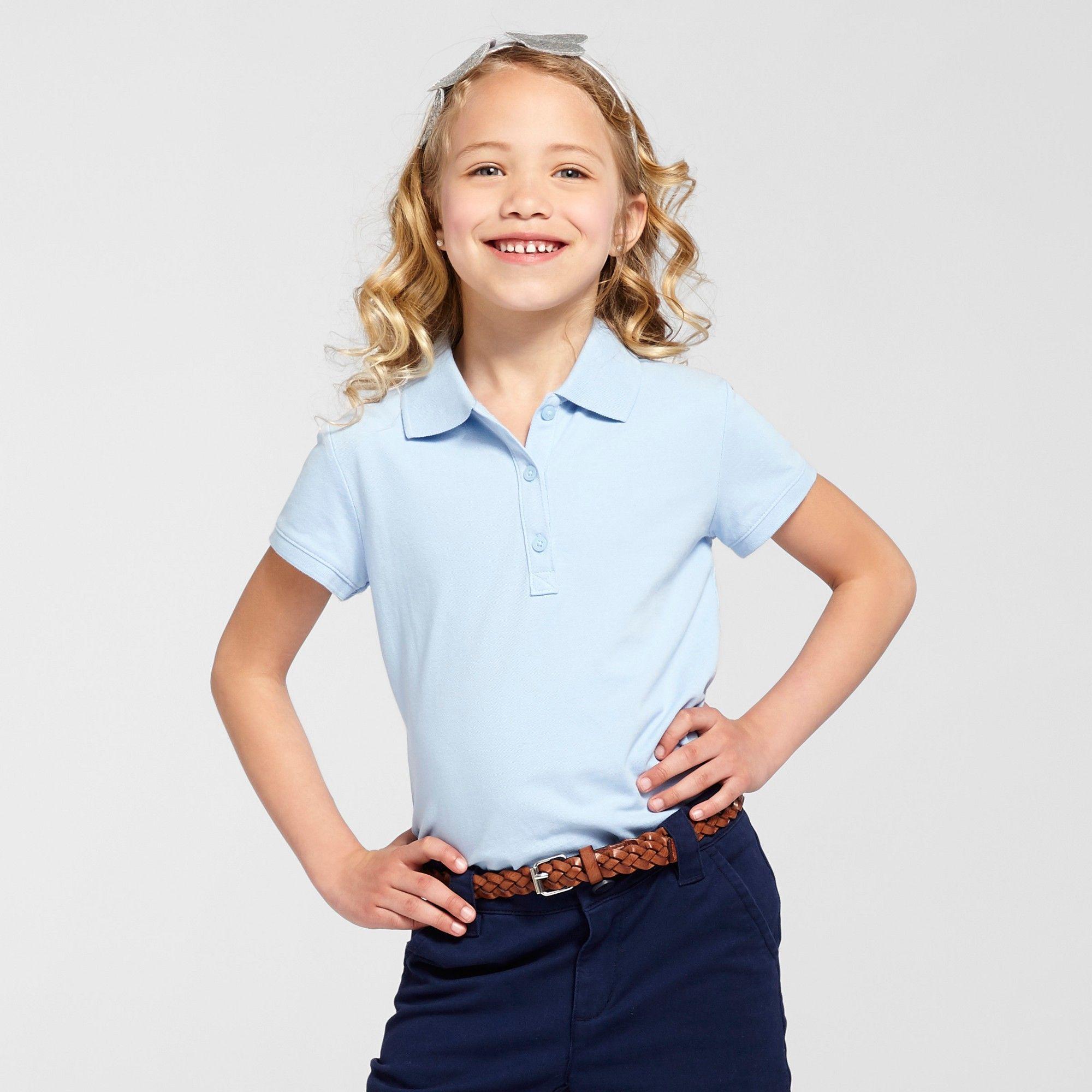6a37b6311 Girls' Short Sleeve Pique Uniform Polo Shirt - Cat & Jack Light Blue ...