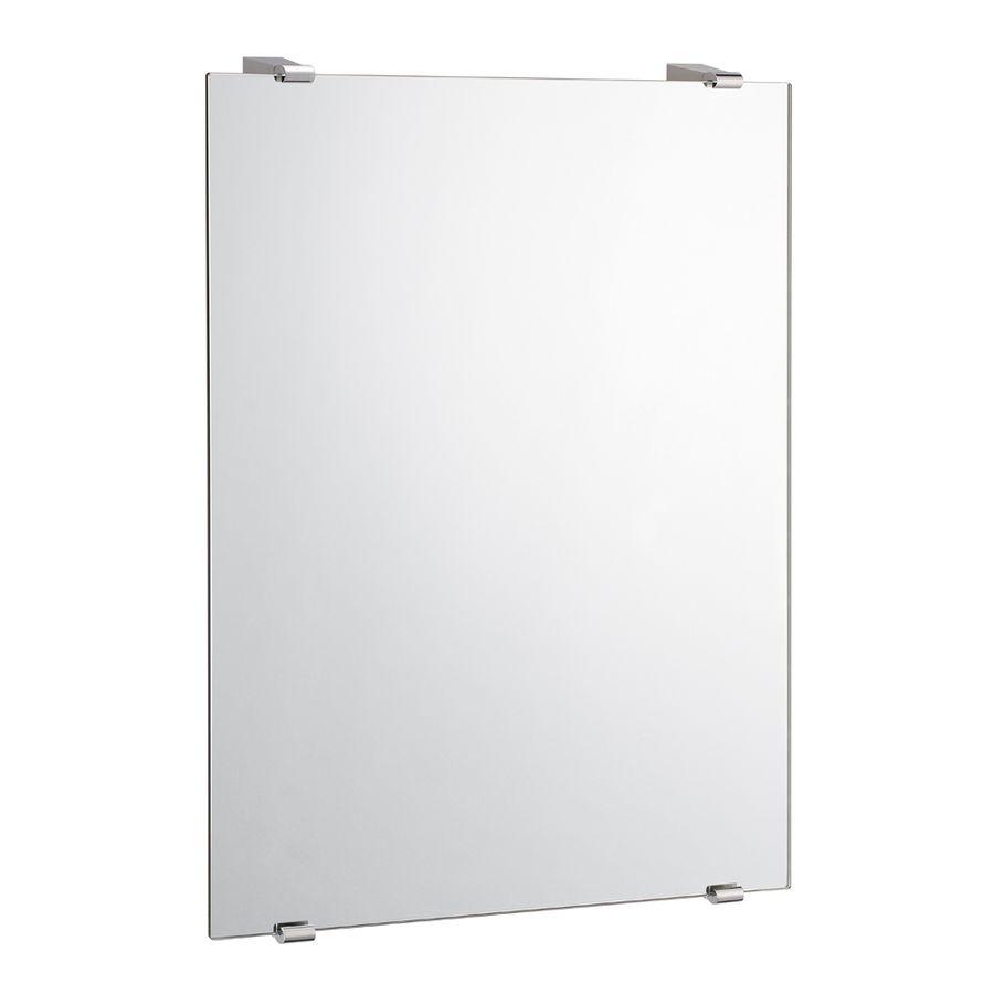Gatco Bleu W X H Rectangular Frameless Bathroom Mirror With Chrome Hardware And Beveled Edges