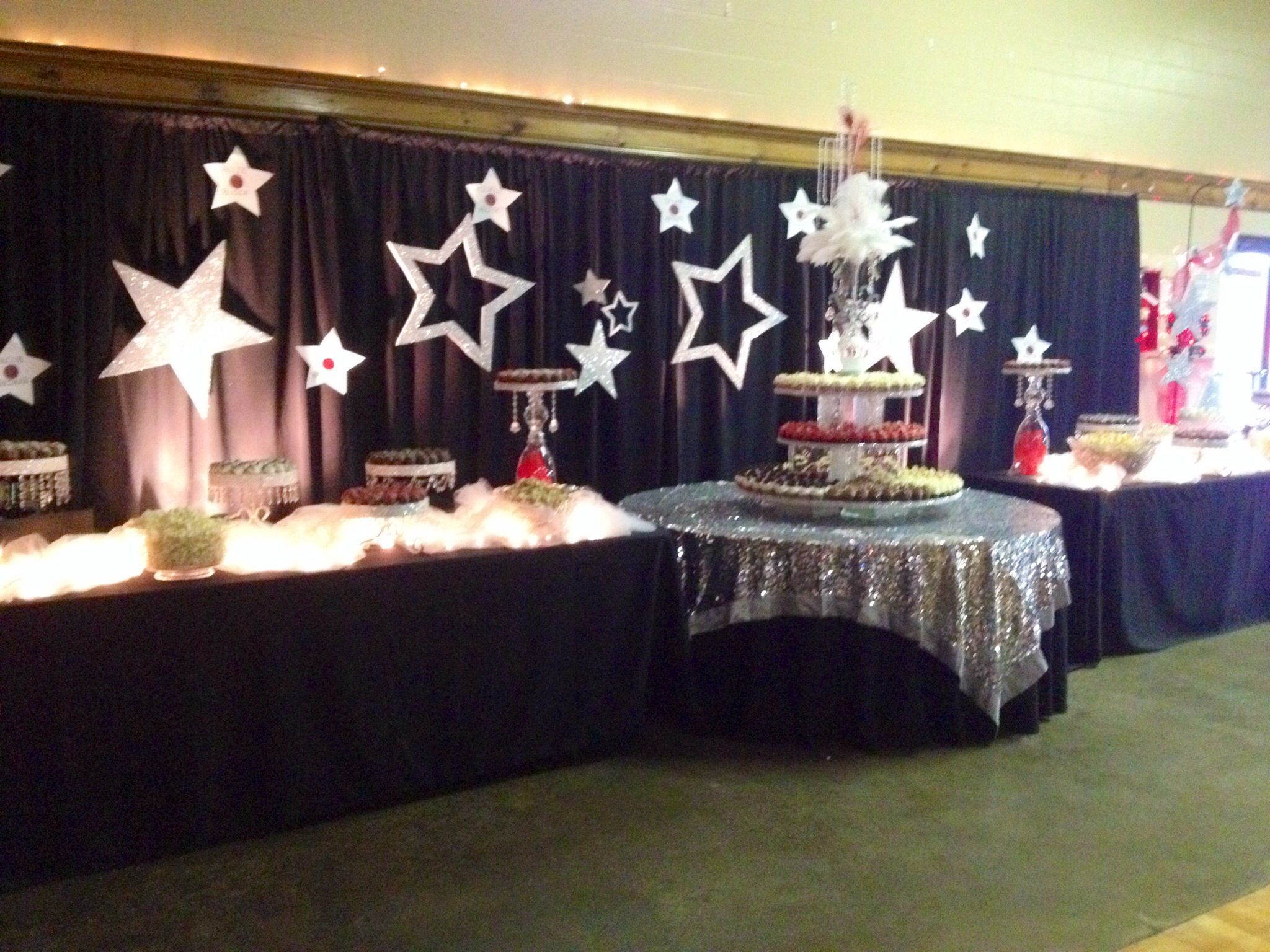 Classroom Decoration Themes ~ Cupcake cake ball and popcorn table for hollywood theme