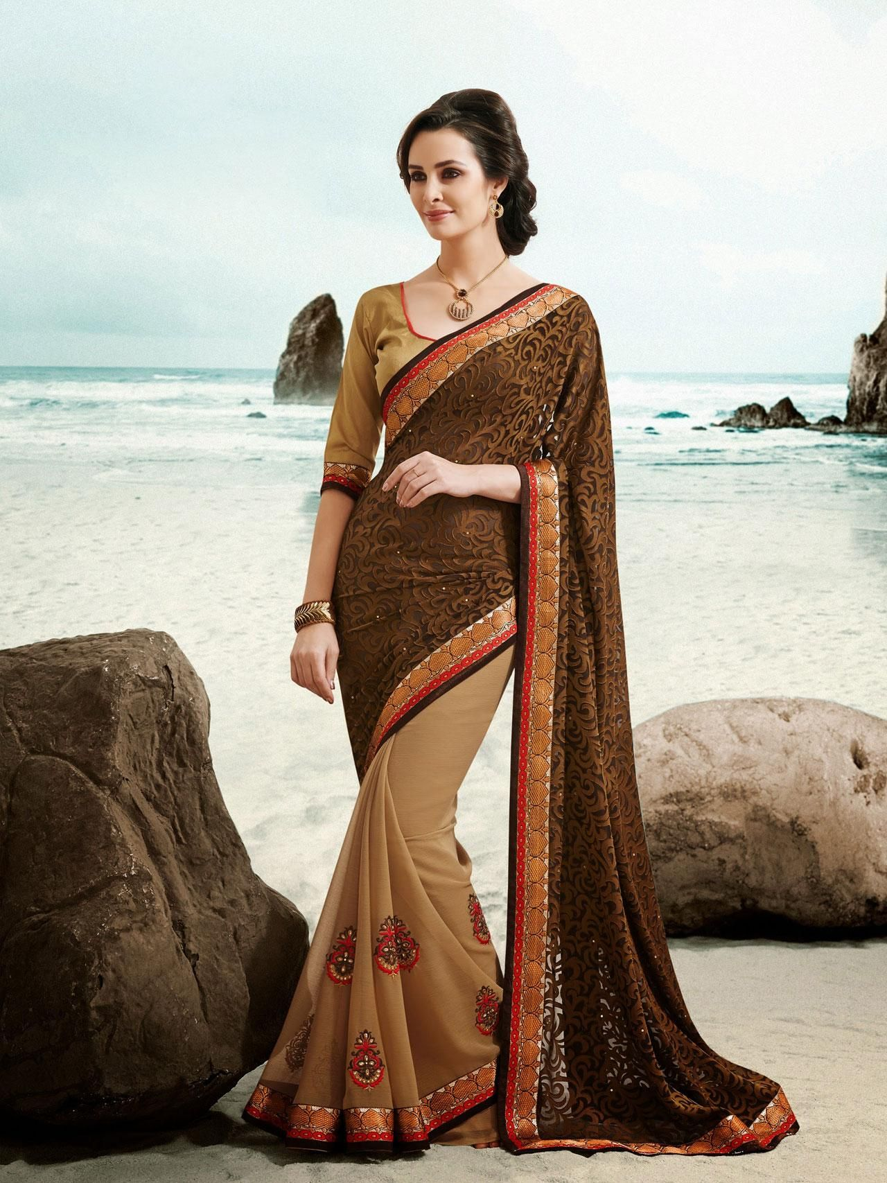 USD 32.15 Beige and Brown Brasso Party Wear Saree 41367