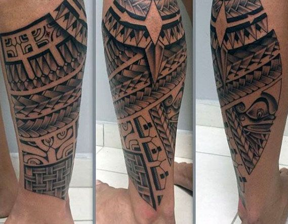 40 Polynesian Leg Tattoo Designs For Men Manly Tribal Ideas Tats