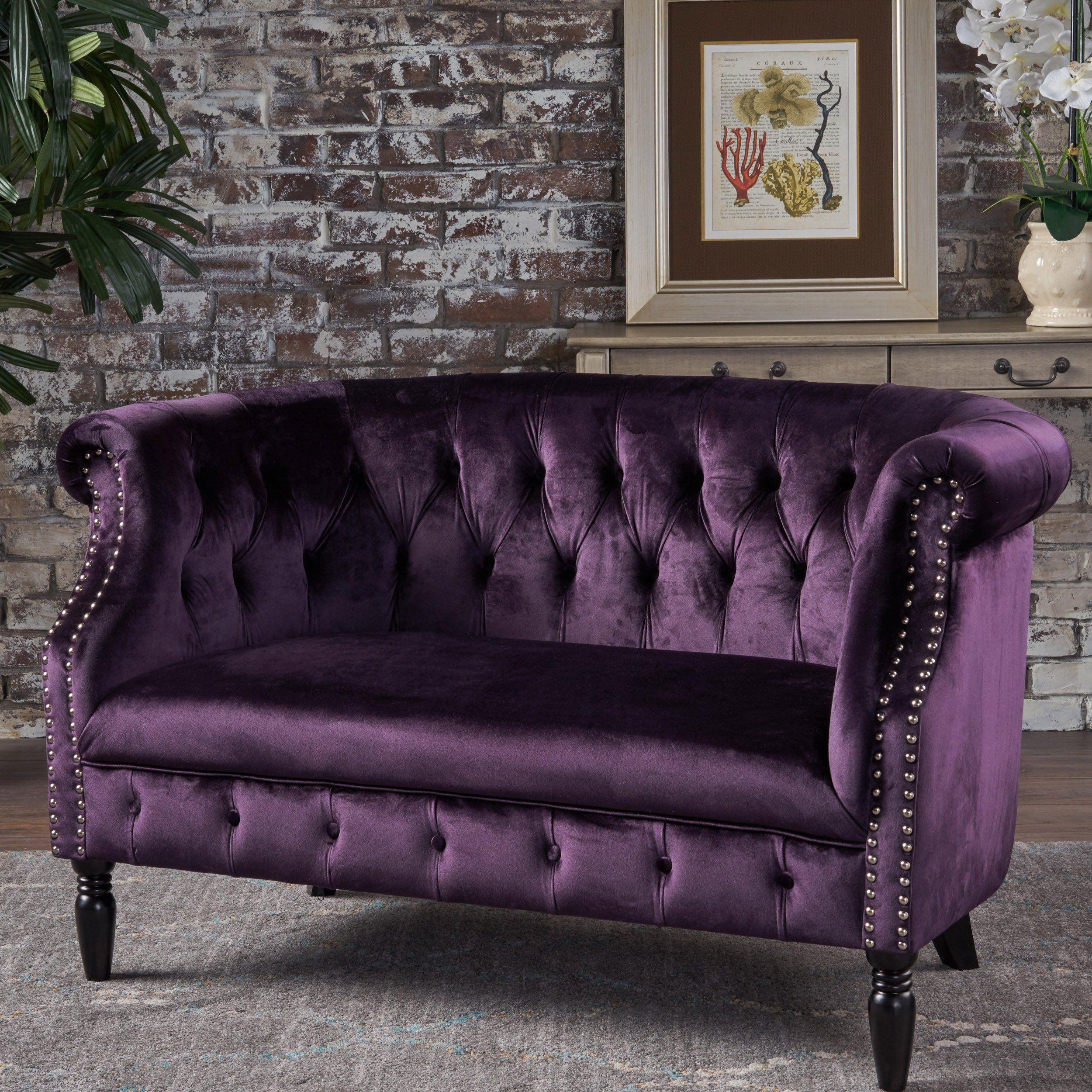 loveseat christopher overstock plum garden shipping knight velvet wingback by product tufted leora home fabric today free