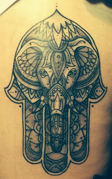Fantasy over reality photo tattoo ideas pinterest for Hamsa elephant tattoo