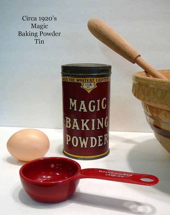 Vintage Magic Baking Powder Tin Canada by EvelynnsAlcove on Etsy