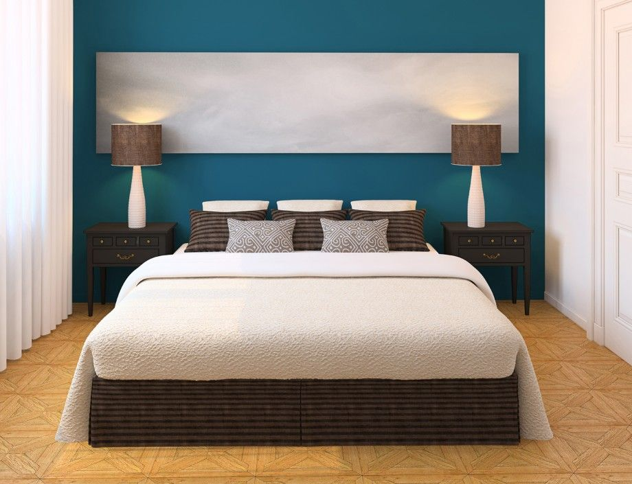 Blue Bedroom Wall Paint, White Linen and Brown Wooden Floor | Lovely ...
