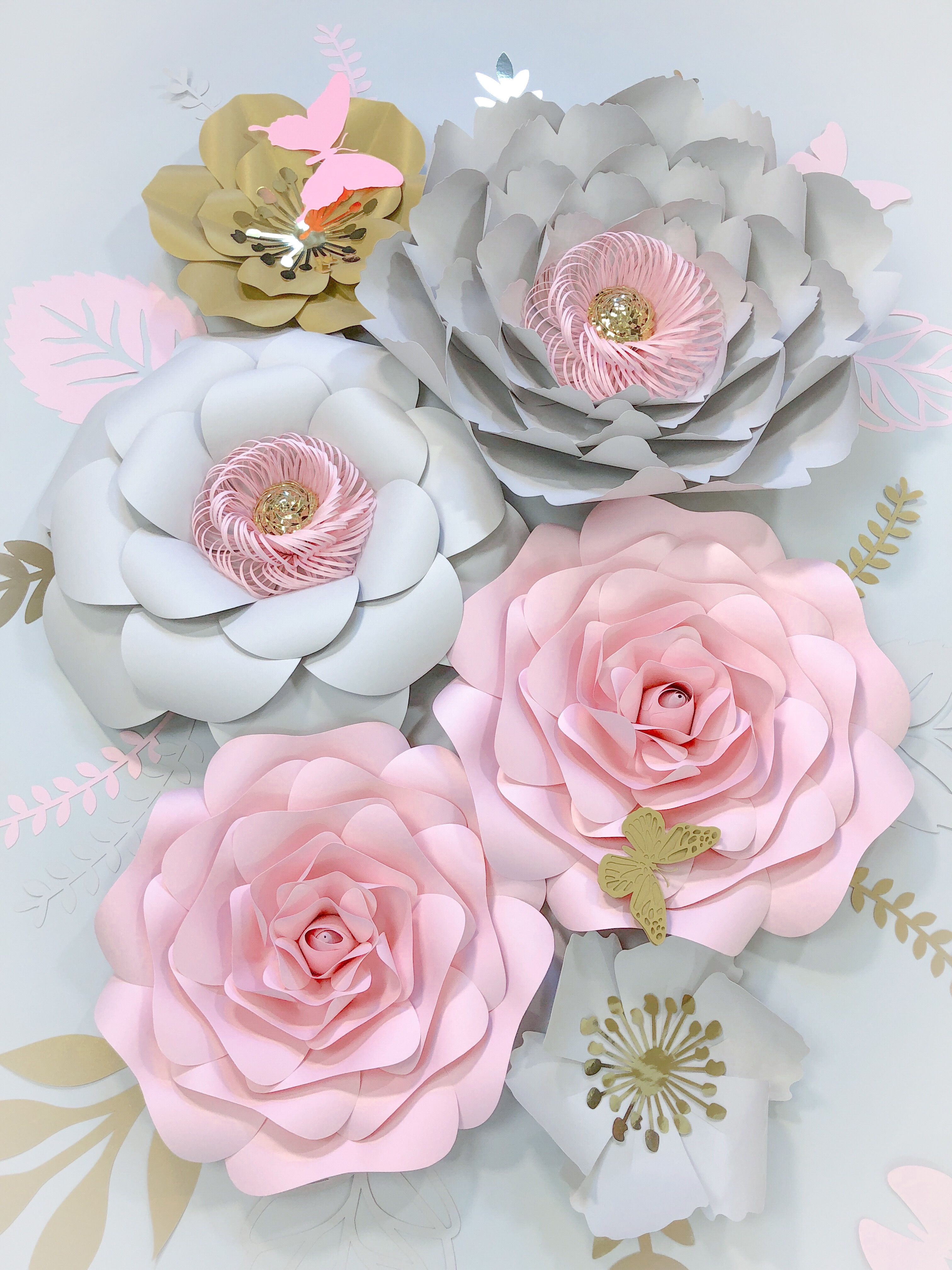 Large Paper Flowers Wall Decor Blush Grey Nursery Girl 3d Etsy Paper Flower Wall Decor Flower Nursery Decor Large Paper Flowers Wall Decor