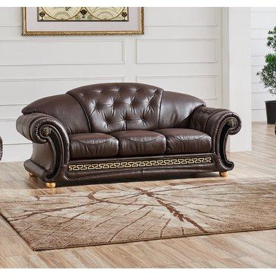 "Astoria Grand Alexzander Genuine Leather 87"" Round Arm Sofa | Wayfair"