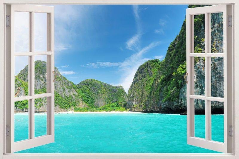 Details About 3d Window Frame Peel And Stick Mural Wall Art Beach