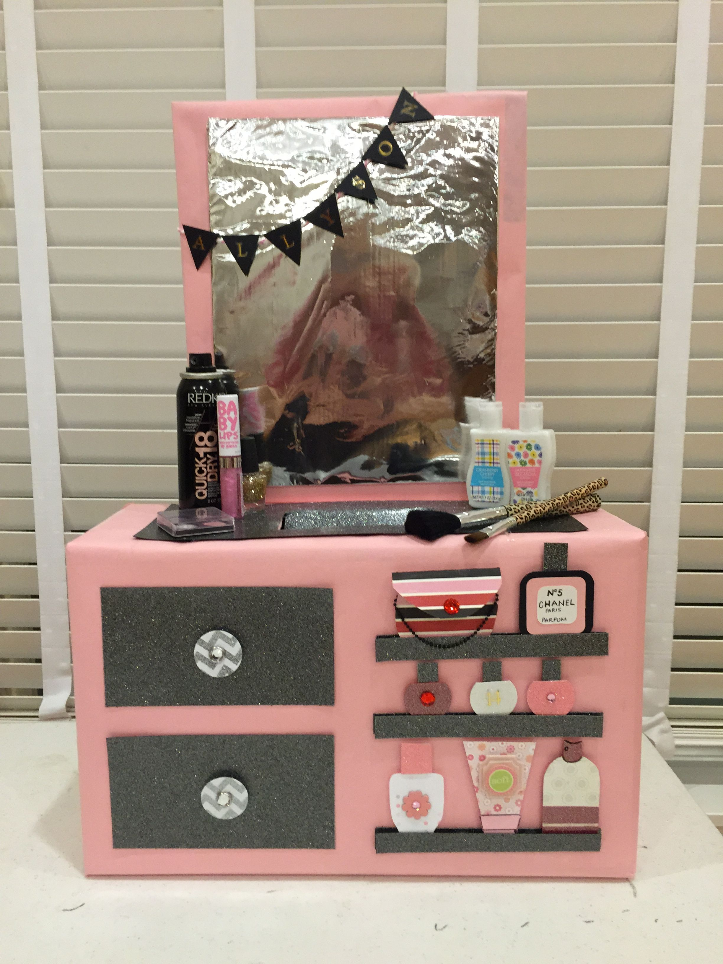 Makeup Vanity Valentine Box Girls valentines boxes