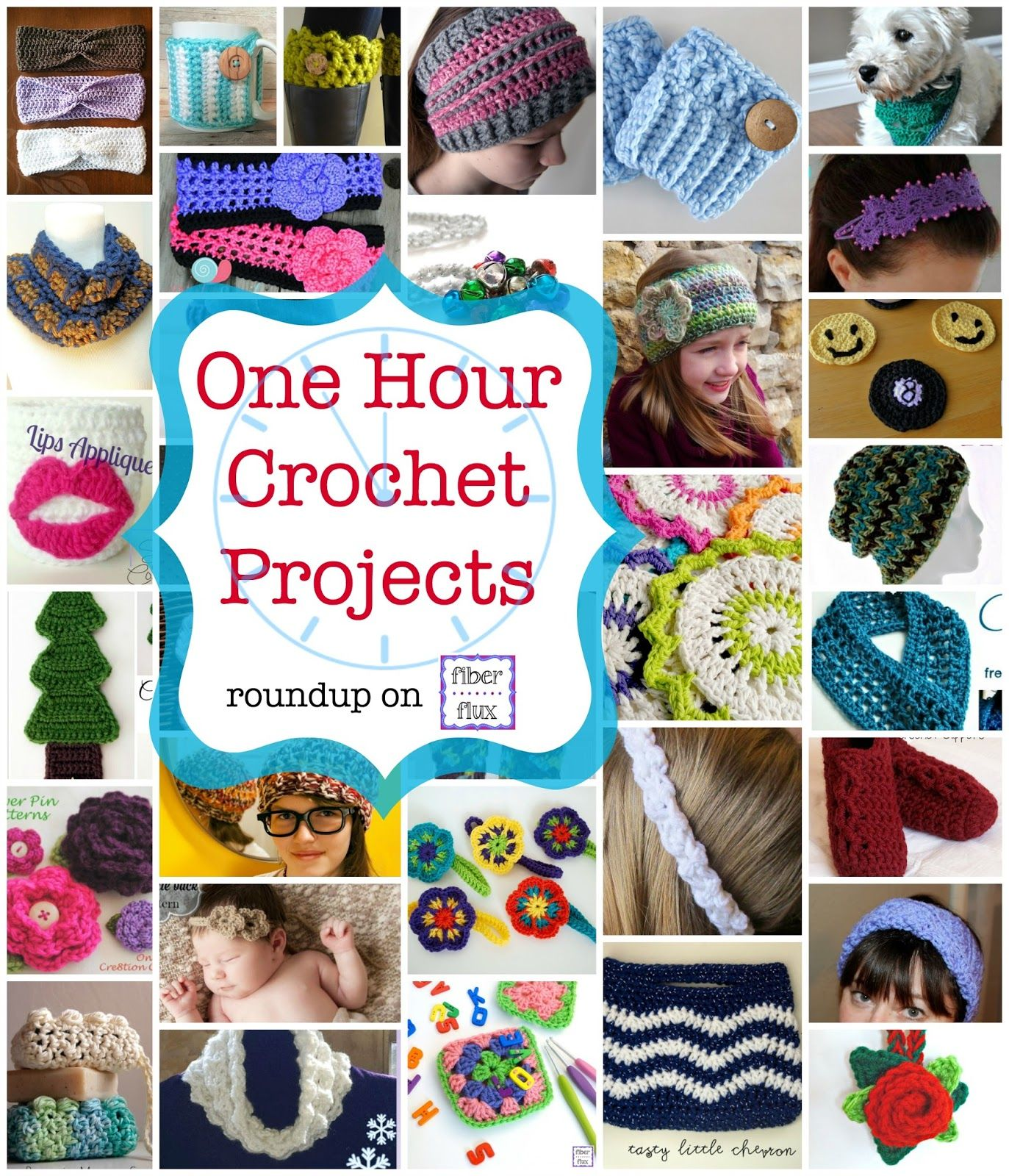 Tick Tock! 35 One Hour Crochet Projects - links to 35 crochet patterns, curated by Fiber Flux