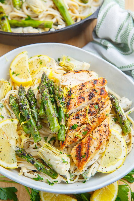 Creamy Lemon Grilled Chicken Asparagus And Artichoke Pasta
