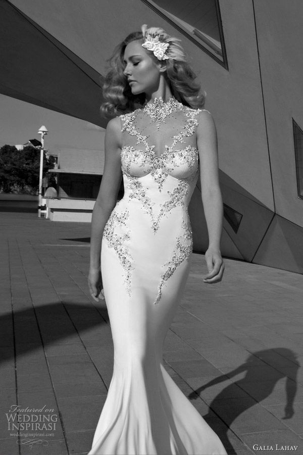 galia lahav bridal 2012 sleeveless wedding dress illusion neckline