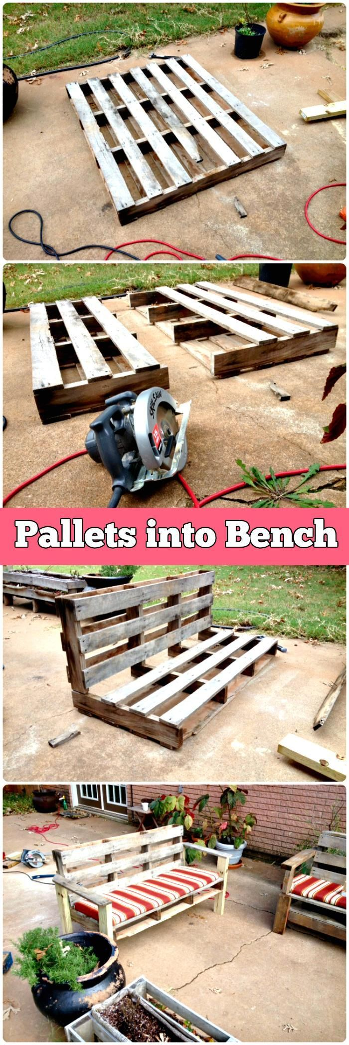 5 Easy Step DIY Transformation – Pallet into Outdoor Patio Bench - 150 Best DIY Pallet Projects and Pallet Furniture Crafts - Page 30 of 75 - DIY & Crafts More on good ideas and DIY #diyoutdoorprojects