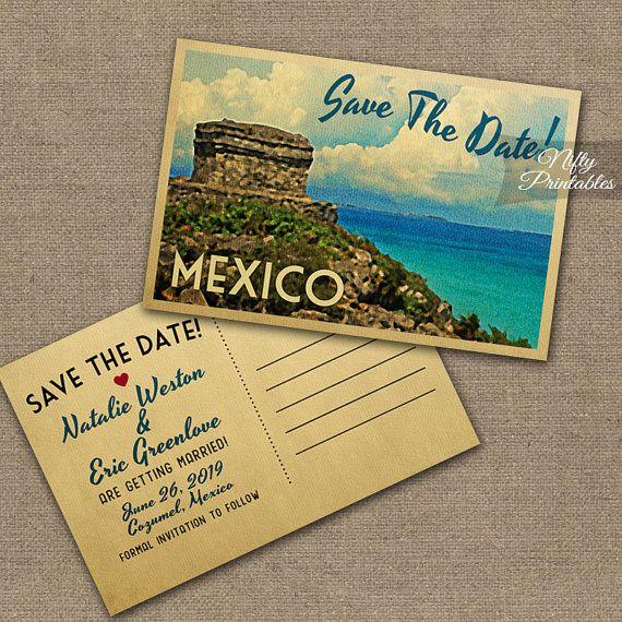 Carte Postale Rustique turquoise cachet Personnalisé Mariage save the date cards