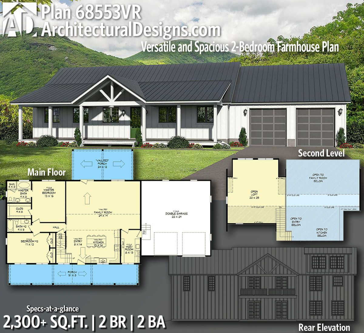 Plan 68553vr Versatile And Spacious 2 Bedroom Farmhouse Plan Farmhouse Plans House Plans Farmhouse House Plans
