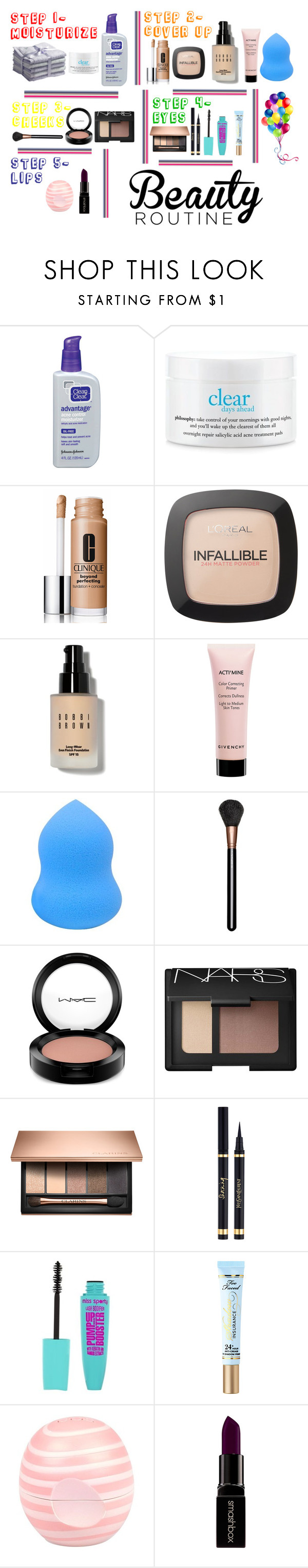 """""""5 Step Makeup Routine"""" by emwalden ❤ liked on Polyvore featuring beauty, philosophy, Clinique, L'Oréal Paris, Bobbi Brown Cosmetics, Givenchy, MAC Cosmetics, NARS Cosmetics, Yves Saint Laurent and Too Faced Cosmetics"""