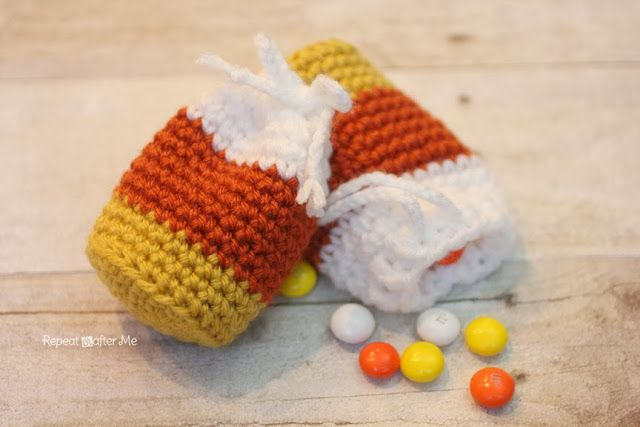 Repeat Crafter Me: Crochet Candy Corn Pouch Pattern | Crochetgasm ...