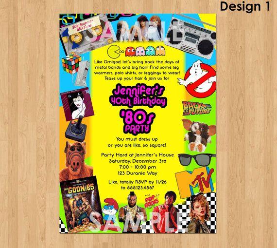 80s Birthday Invitation Party 40th