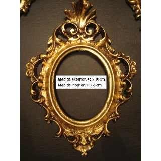 Set de 4 marcos antiguos dorados a la hoja espejos y for Espejos dorados ovalados