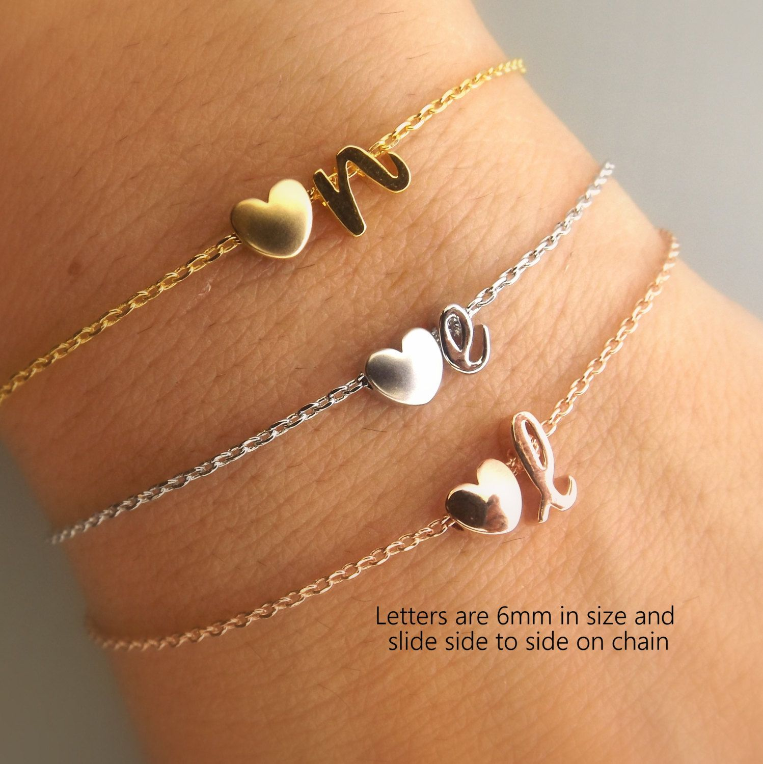 Initial and heart gold, rose gold or silver bracelet ...