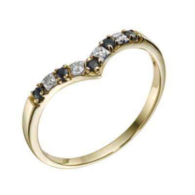 9ct Yellow Gold Sapphire & Diamond Wishbone Ring H Samuel the