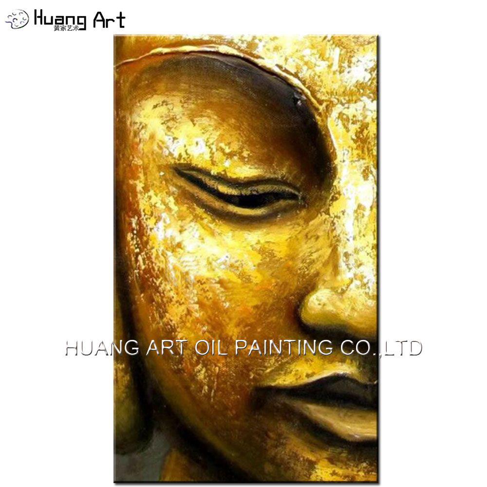 100% Handmade Modern Golden Yellow Buddha Half Face Oil Painting on ...
