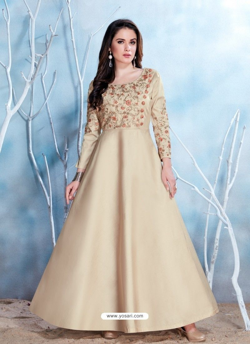 Light beige modal satin embroidered gown beige dresses pinterest