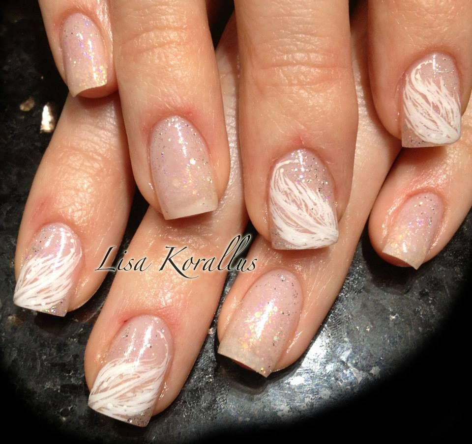 Sculpted gel enhancement with hand painted feathers. #pinkandwhites ...