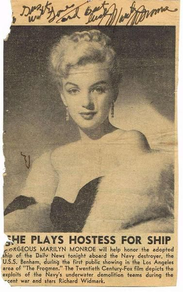 Marilyn Monroe autograph on newspaper clipping. Signed on June 19, 1951 for a US Navy serviceman - superb provenance.  his autographed newspaper clipping, measuring 6½