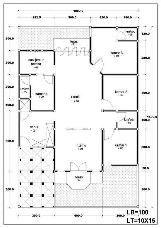 Denah Rumah Minimalis Tipe 100 Dengan 4 Kamar Tidur 1 Lantai