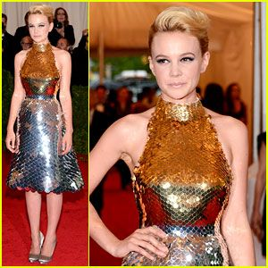 Carey Mulligan Met Ball 2012 in a Prada gold and silver degradé metal paillettes scaled halter neck dress