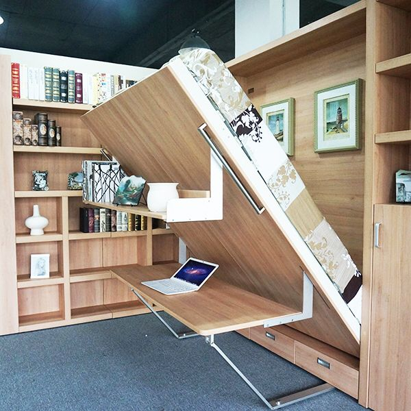 China Durable Home Office MDF Folding Modern Wall Bed With Bookshelf And  Table Supplier