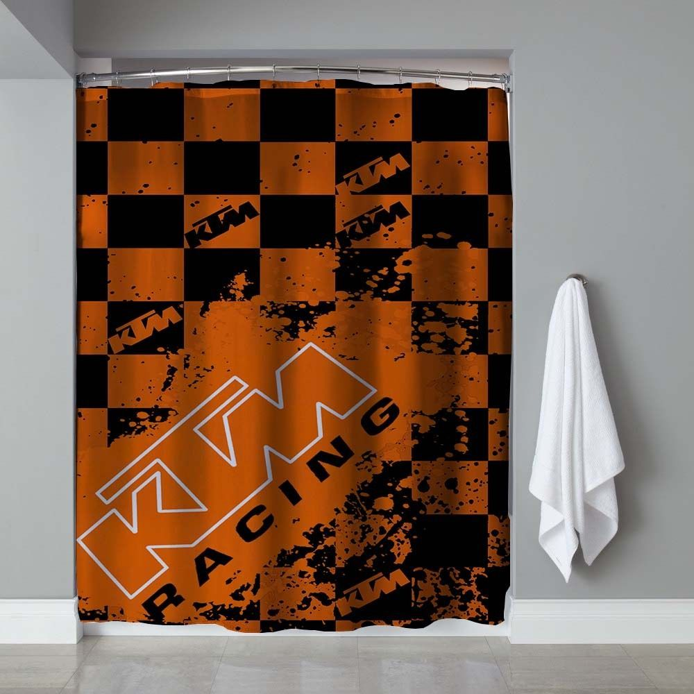 New Rare KTM Racing Splash Logo Exclusive Design Shower Curtain 60x72 Unbranded