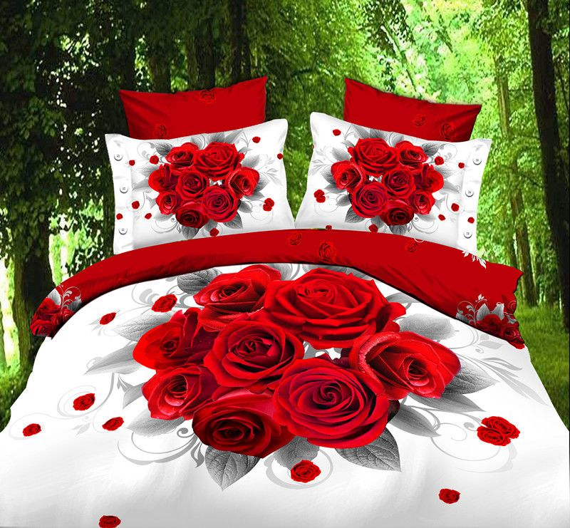 Red Rose Shipping Hot Reactive Printed 3d Bed Linen Bedding Set