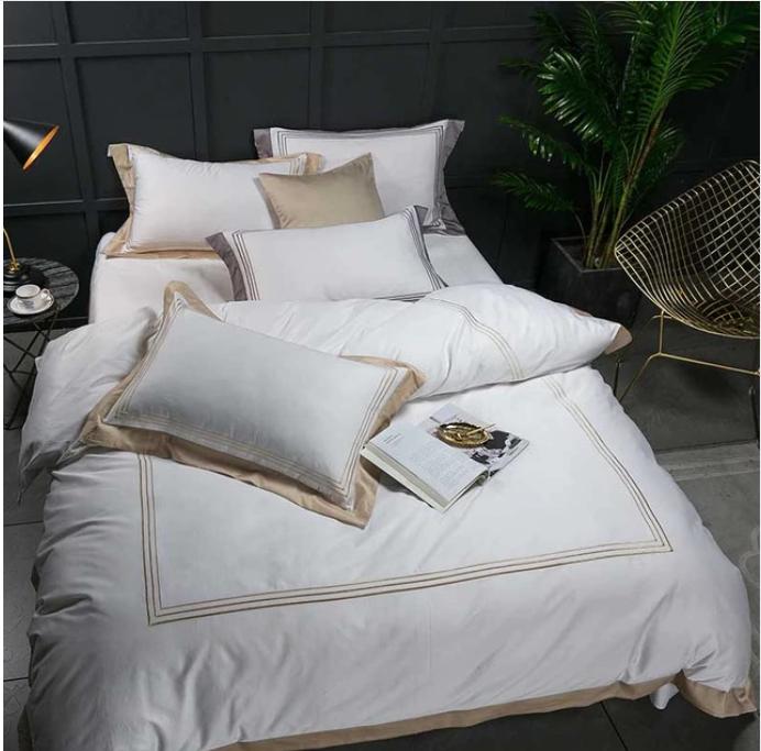 Mayfair White Cafe Au Lait 1000 Thread Count Egyptian Cotton Bed Linen Set Cotton Bed Linen