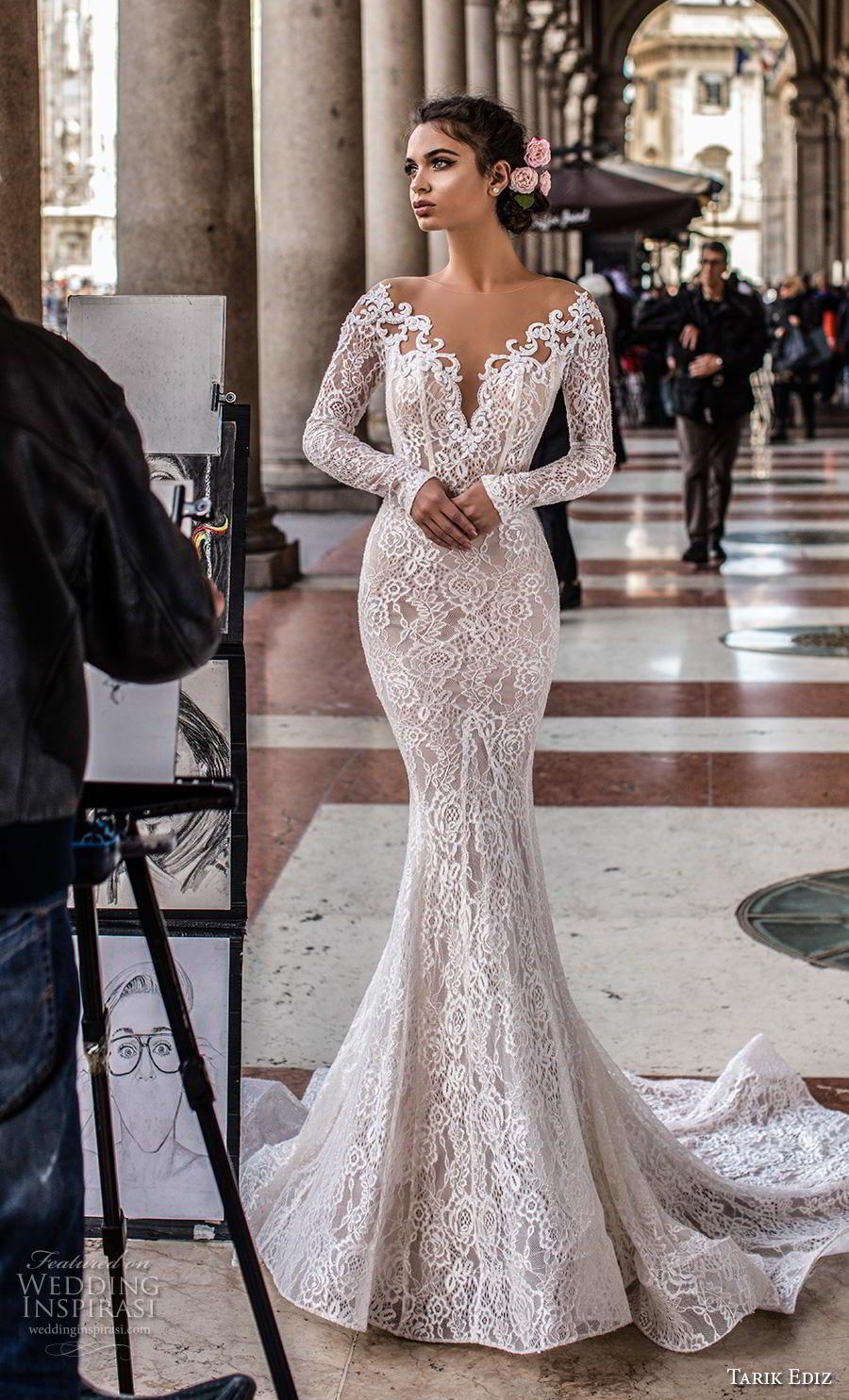 Tarik Ediz 2019 Wedding Dresses White Bridal Collection Wedding Inspirasi Lace Mermaid Wedding Dress Wedding Dress Long Sleeve Wedding Dresses