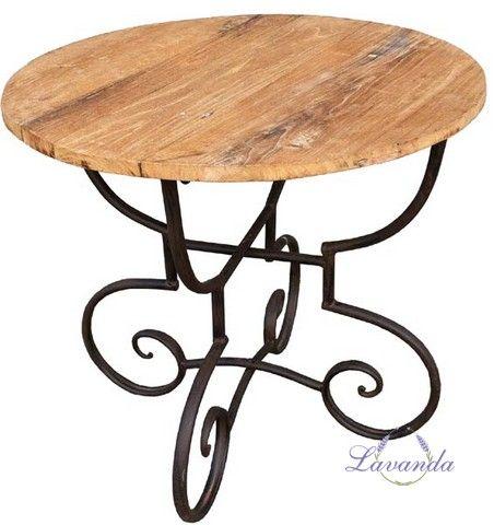 Drevený stôl Pagani, okrúhly, kovový stojan