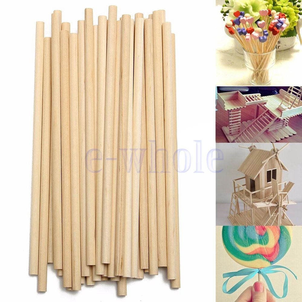 Round wooden sticks for crafts - 100pcs 150mm Round Wooden Lollipop Lolly Sticks Cake Dowel For Diy Food Craft Be