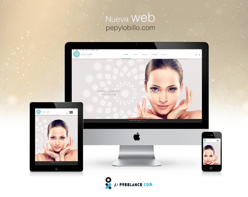 Web realizada para Pepy Lobillo, un salon de belleza y bienestar.  Diseño muy limpio y elegante.