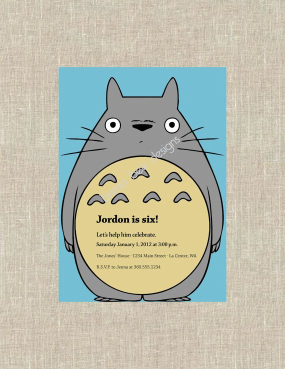 Totoro Invite Party Party Pinterest Totoro Party And Birthday