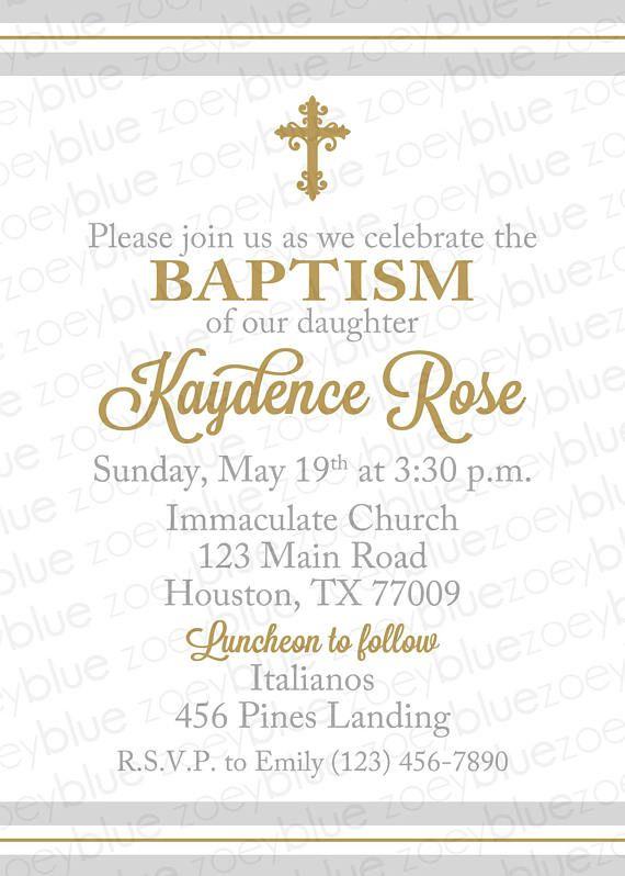 gray gold baptism invitation boy christening invite first