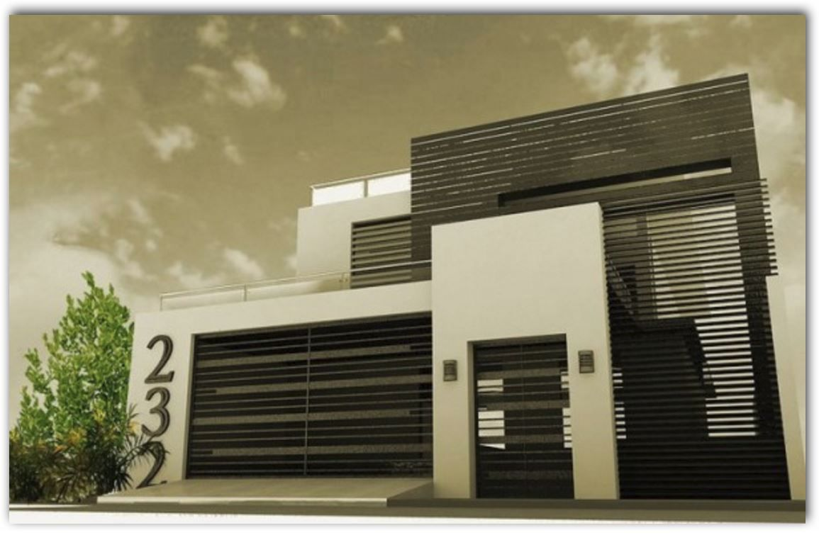 Fachada de casa mediana con estilo minimalista puertas for Fachada de casas modernas estilo oriental