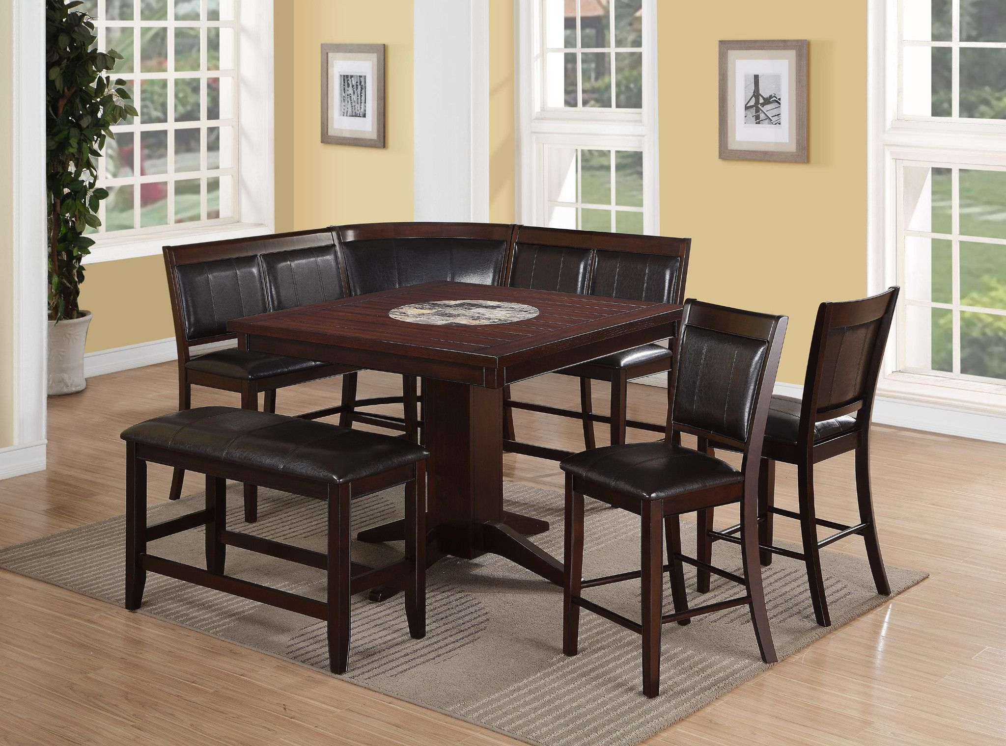 Harrison Nook 6 Piece Corner Nook Counter Height Table 2 High Back Benches Corner B Counter Height Dining Table Set Tall Dining Table Counter Height Table
