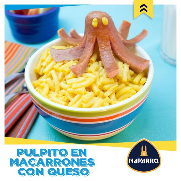 Si los macarrones con Queso Amarillo NAVARRO les encantan, ¡imagínate con un pulpito de salchicha!